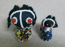 Black Americana African Folk Art Handmade Girl Figures Yarn Braided Hair Beads