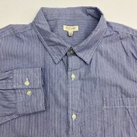 Sonoma Button Up Shirt Men's 2XL XXL Long Sleeve Blue White Striped 100% Cotton