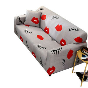 1-4 Seater Eyelash Lips Print Slipcover Sofa Cover Couch Cover Elastic Protector