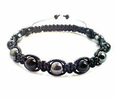 Men's beaded shamballa bracelet ONYX HEMATITE stone beads wristband cuff jewelry
