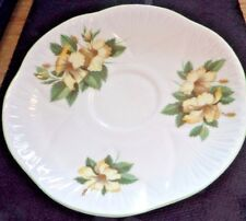 Shelley Hibiscus #13882 Bone China Saucer White with yellow flowers free/ship