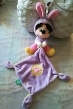 Doudou plat Minnie Capuche Lapin mouchoir Disney  rond jaune pois violet NEUF