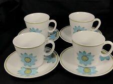 Set of 4 Noritake Progression Up-Sa Daisy Cups and Saucers Pat 9001 Japan