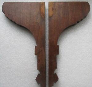 "TALL PAIR ANTIQUE VICTORIAN SOLID WALNUT CORBELS SHELF BRACKETS 7"" x 15"" high"