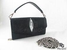PELGIO Genuine Stingray Skin Leather Clutch Shoulder Bag Cross Body Purse Black