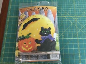 Cat and Moon Wallhanging Kit. Design Works. 13x13. Unopened. Halloween or Fall.