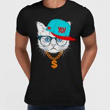 Hip Hop T-Shirt gato con las gafas y Gángster Sombrero