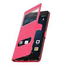 Housse Etui Double Fenetre Rose Fuschia pour Huawei P8 Lite 2017