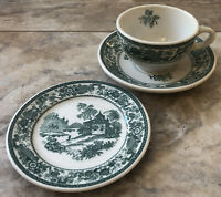 Vintage Syracuse Mayfair Restaurant Ware China Green Cup, Saucer and Bread Plate