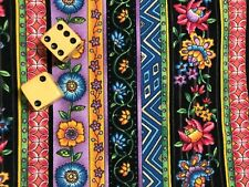 Arabesque by Fabri-Quilt cotton fabric Folk Art Floral Stripe BTY  1 yd x 44