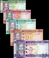 SOUTH SUDAN SET 5 PCS 1-5-10-20-50 POUNDS 2011-2017 P5,P6,P7,P13,P14c NEW UNC