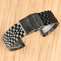 22mm Black Solid Stainless Steel Link Band Watch Strap Replacement Bracelet