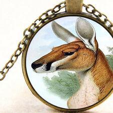 New Aussie Red Kangaroo Pendant Necklace, John Gould Australia Vintage Art