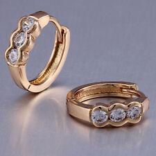 ..10K Yellow Gold Filled GF CZ Hoop Earrings Earings 12mm ID 4mm Wide Stunning