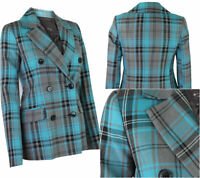 Ex River Island Womens Ladies Teal Grey Blue Checked Tweed Smart Jacket 6-16