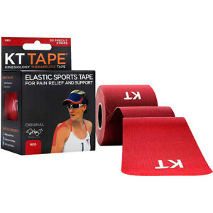 """KT Tape Cotton 10"""" Precut Kinesiology Therapeutic Sports Roll, 20 Strips, Red"""