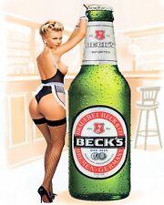 """10"""" x 8"""" BECKS BEER SEXY PIN UP GIRL PUB BAR MAN CAVE METAL PLAQUE TIN SIGN 559"""