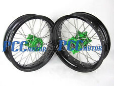 "KAWASAKI KX/KXF 125-450 FRONT/REAR 17""/17"" SUPERMOTO WHEEL WHEELS SET M RMK03"