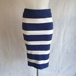 New House of Holland Fitted Skirt W28 Midi Blue White Striped Casual Knit 164176