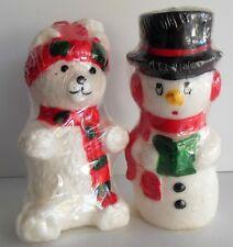 2 Vintage Wax Christmas Candles Snowman Polar Bear Korea Original Wrappers