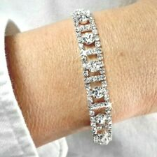 Silver White Cubic Zirconia CZ Crystal Tennis Bracelet Bangle Bridal Gift Bag UK