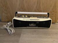 Rare White Sharp QT-250E W Portable Stereo Radio Cassette Tape Recorder Boombox