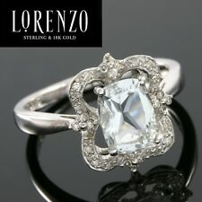 DESIGNER COLORESG by LORENZO -1.35 CT GREEN QUARTZ & 1/5 CT DIAMOND 925 SS RING
