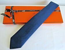 Hermès Mens Heavy Navy Silk Tie with Blue Chromosomes H Design 659159T 02