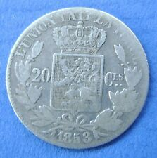 Belgie - Belgium 20 centimes 1853  Leopold I. Silver. KM# 19