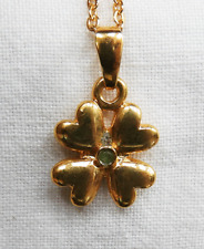 Four Leaf Clover Pendant with Tiny Peridot Stone on Gold Plated Chain - (AC 6)