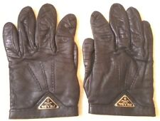 PRADA GANTS EN CUIR NOIR T. 7 ou M FEMME LEATHER GLOVES WOMAN