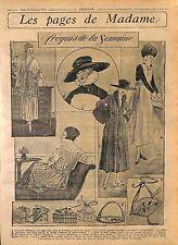 Vêtements Voile Rose Dentelles Rubans Capeline Mode Fashion Croquis WWI 1916