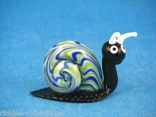 Murano Art-Glass Shades of Blue & White with Black Body Snail Figurine