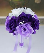 set of 3 bouquets silk flower package-lavender,purple,white-wedding rose