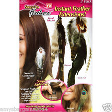 As Seen On TV 3 Pack Peacock Chesnut Smoky Ash Hair Clip Feather Extensions