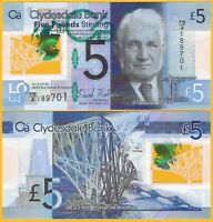 Scotland 5 Pounds p-229N 2015 Clydesdale Bank AUNC Polymer Banknote