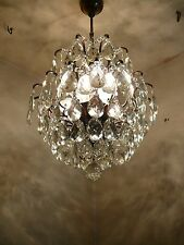 Vintage 5 light Brass and Crystal Old Spider Chandelier