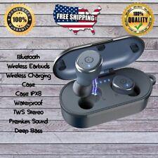 Blue Wireless Bluetooth Earbuds Stereo Wireless Waterproof Charging Case