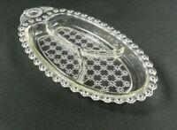 Vtg Hazel Atlas Divided Relish Tray Clear Glass Beaded Jewel Flower Floral