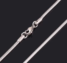 """28"""" 1mm 316L Stainless Steel Snake Chain for Pendant Silver Tone Necklace STsn1s"""