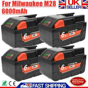 1-4x 28V 6.0Ah Li-ion Battery For Milwaukee M28 V28 48-11-2830 48-11-2850 V28VC