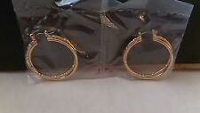 "Signature Collection Classic Hoop Earrings Gold-tone 1 1/4"" Diam Brand New"