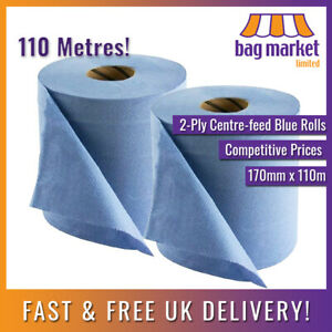 2 x Ex-Large 2-Ply Centre-feed Blue Rolls 110m! | Paper Towel/Gym/Tissue/Wipes