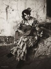 1922 Vintage SPAIN Granada GYPSY Female Dress Guitar Music Photo Art ~ HIELSCHER