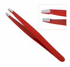Professional Eyebrow Tweezers Hair Beauty Slanted Stainless Steel Tweezer Tool Red