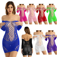 Sexy Women's Hollow Out Fishnet Bodycon Evening Party Cocktail Club Mini Dress