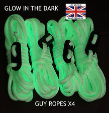 4m Long GLOW IN THE DARK - Guy Line Ropes x4 PACK Tent Camping green yellow