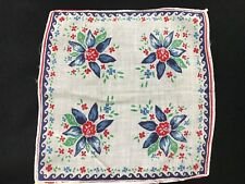 Vintage Blue & Red Floral Print Ladies' Hankie/Handkerchief