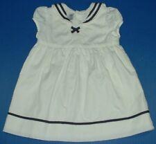 Baby Gap White Sailor Collar Dress Short Sleeves Navy Trim 6-12M