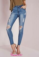 New MISSGUIDED SINNER High Waisted Stretch Marbled Skinny Blue Jeans Size 14 R